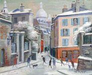 Montmartre - 20180 - Montmartre, place Clément sous la neige
