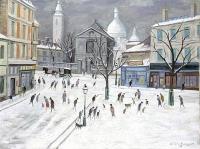 Montmartre - 20251 - Place du Tertre sous la neige au fiacre bâché
