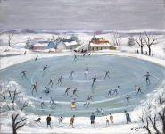 Neige - 20219 - Le lac gelé aux patineurs