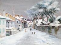 Neige - 20304 - Rue de village sous la neige (Perroy/Vaud)