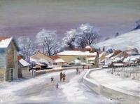 Neige - 20305 - Rue de village sous la neige (Féchy/Vaud)