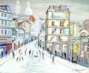Sacré-Coeur - 20190 - Rue de Paris sous la neige et le Sacré-Coeur