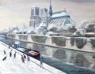 Notre-Dame - 20240 - Notre Dame et les quais sous la neige